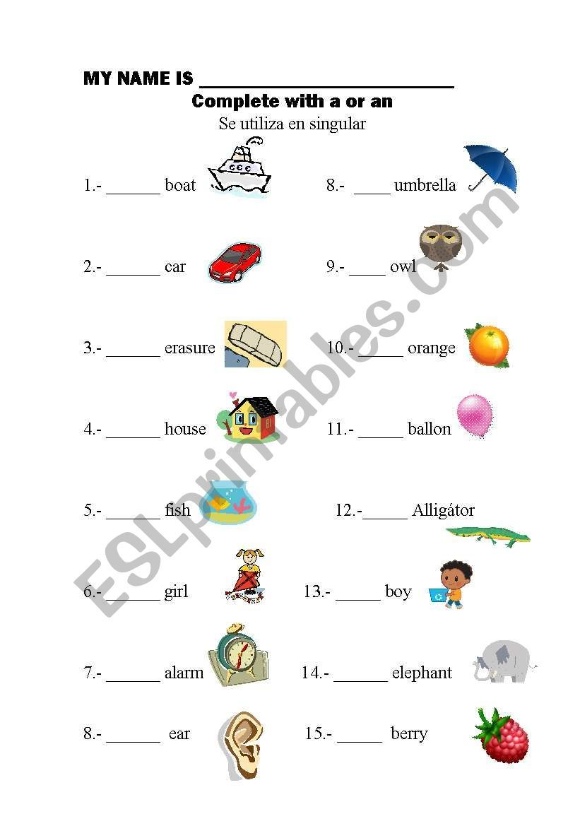 A Worksheet With The Articles A An Articles Worksheet Grammar Worksheets English Grammar Worksheets