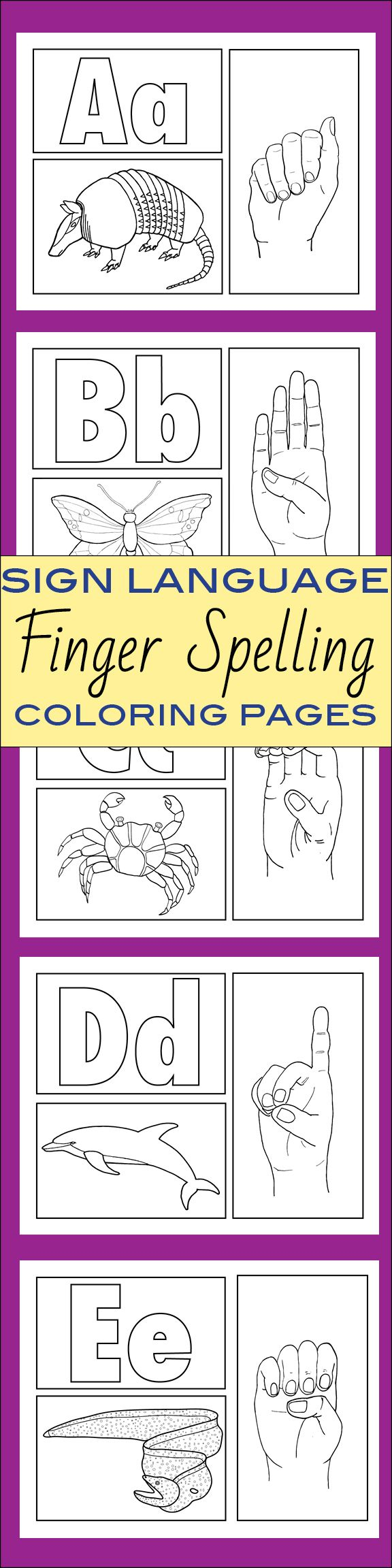 Sign Language Alphabet ABCs Coloring Sheets and Room