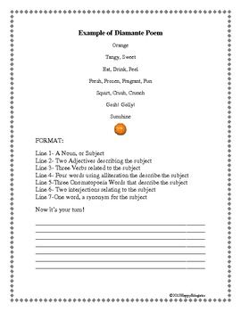 Diamante Poem Handout - FREE - Supports higher order thinking