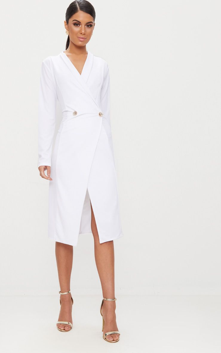 Robe Mi Longue Blanche Style Blazer A Boutons Blazer Dress Tuxedo Dress Womens Dresses