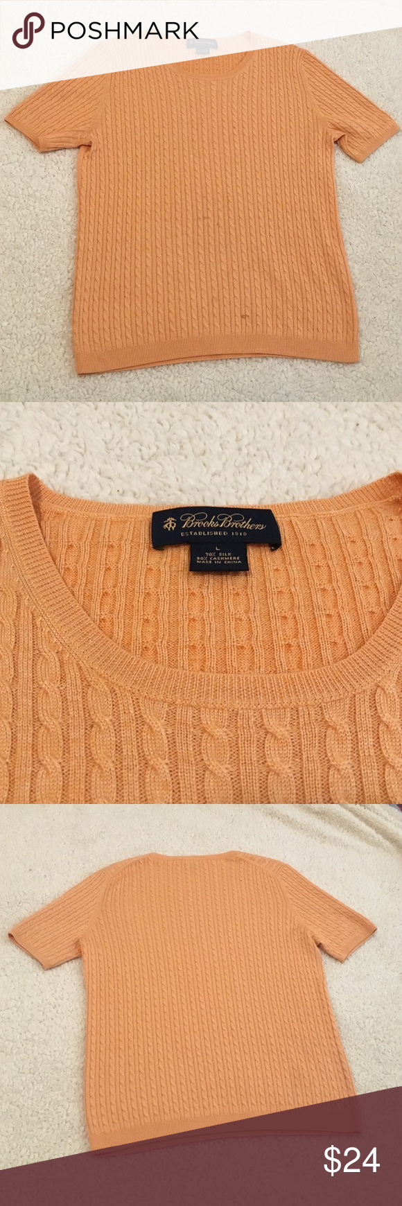 BROOKS BROTHERS CASHMERE Condition is 9/10 only has one stain easily removable size large , 70 % silk 30% cashmere make me an offer color is light pink with a Lil orange Brooks Brothers Tops