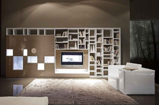 Bücherregal modern-weiß Holz-asymmetrisch Sessel bequem - interieur in weis und holz modern design