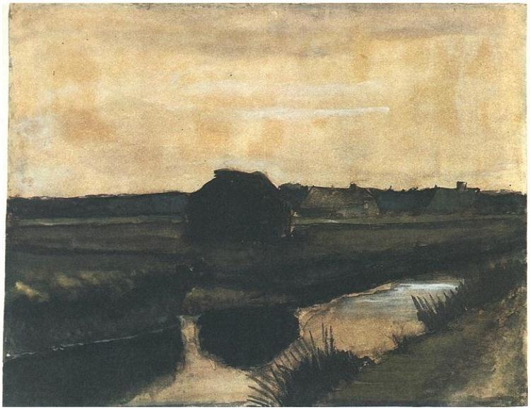 Vincent Van Gogh Paisaje Con Un Monton De Turba Y Granjas Watercolor Artist Van Gogh Van Gogh Watercolor Van Gogh Landscapes