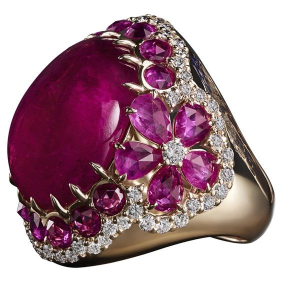 Italian Jewellery Brand Crivelli ~ Cabochon rubellite, ruby and diamond ring, set in pink gold
