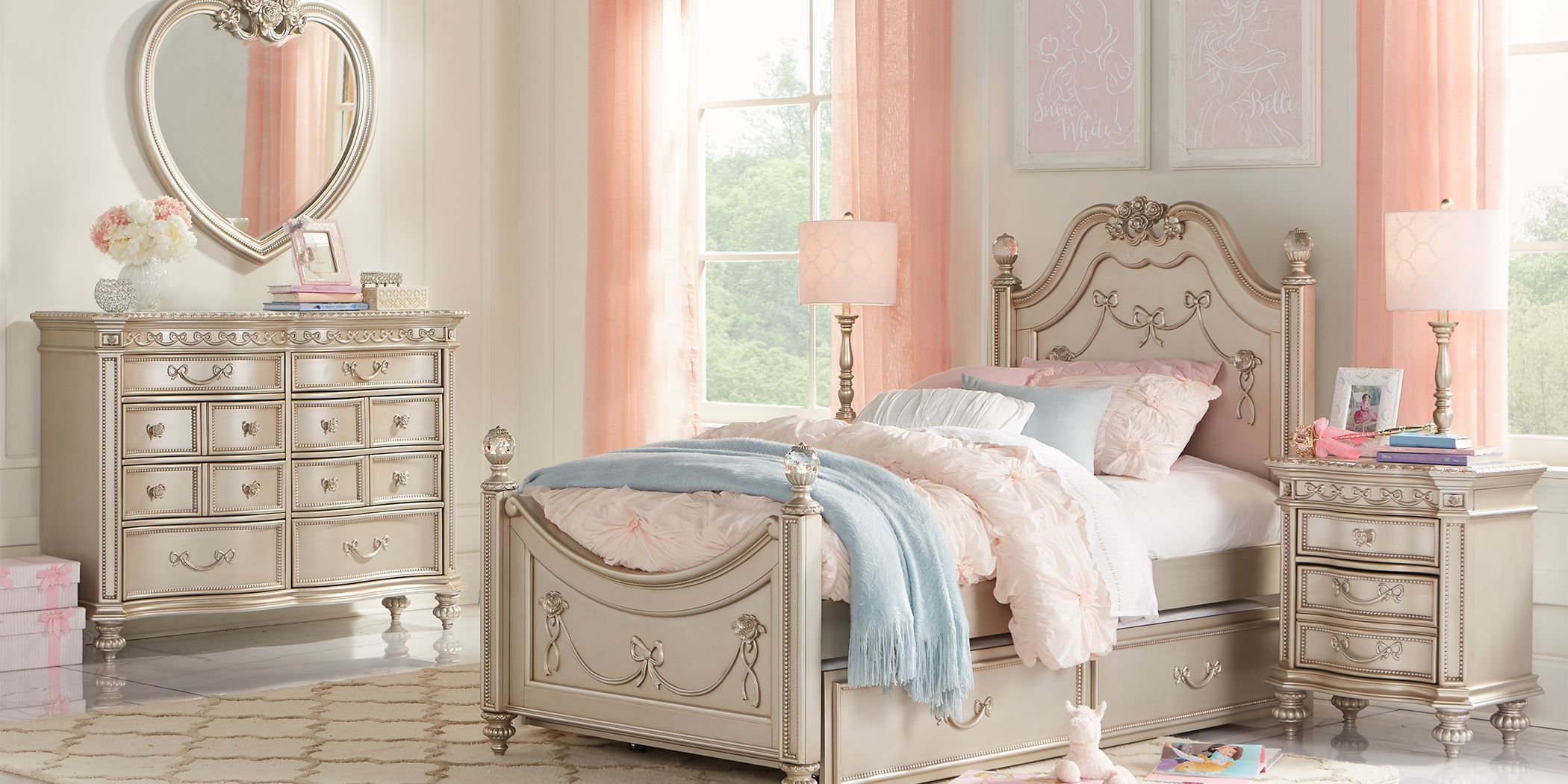 Disney Princess Fairytale Silver 5 Pc Full Poster Bedroom In 2021 Girls Bedroom Sets Princess Furniture Bedroom Posters