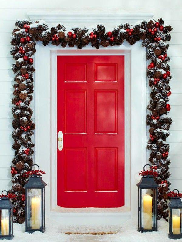 Great Christmas Door Decoration Door Red Pinecone Ball Garland Idea