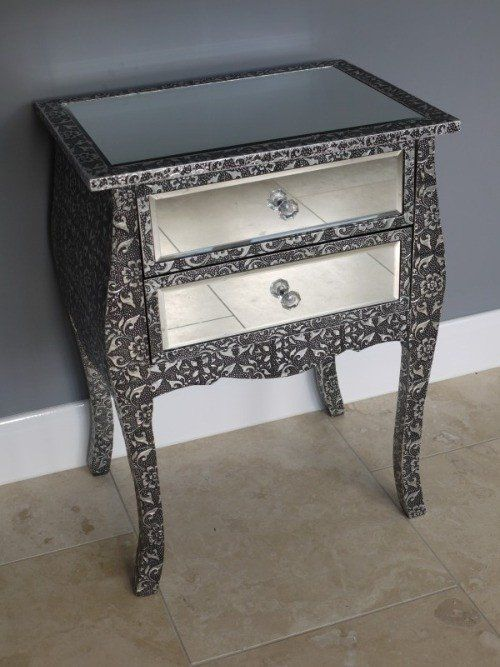 Mirrored Bedside Table With Drawers: Blackened Silver Embossed Mirrored Bedside Table With 2