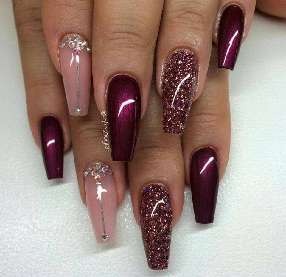 Burgundy & pink | Nail Art | Pinterest | Coffin nails, Make up and ...