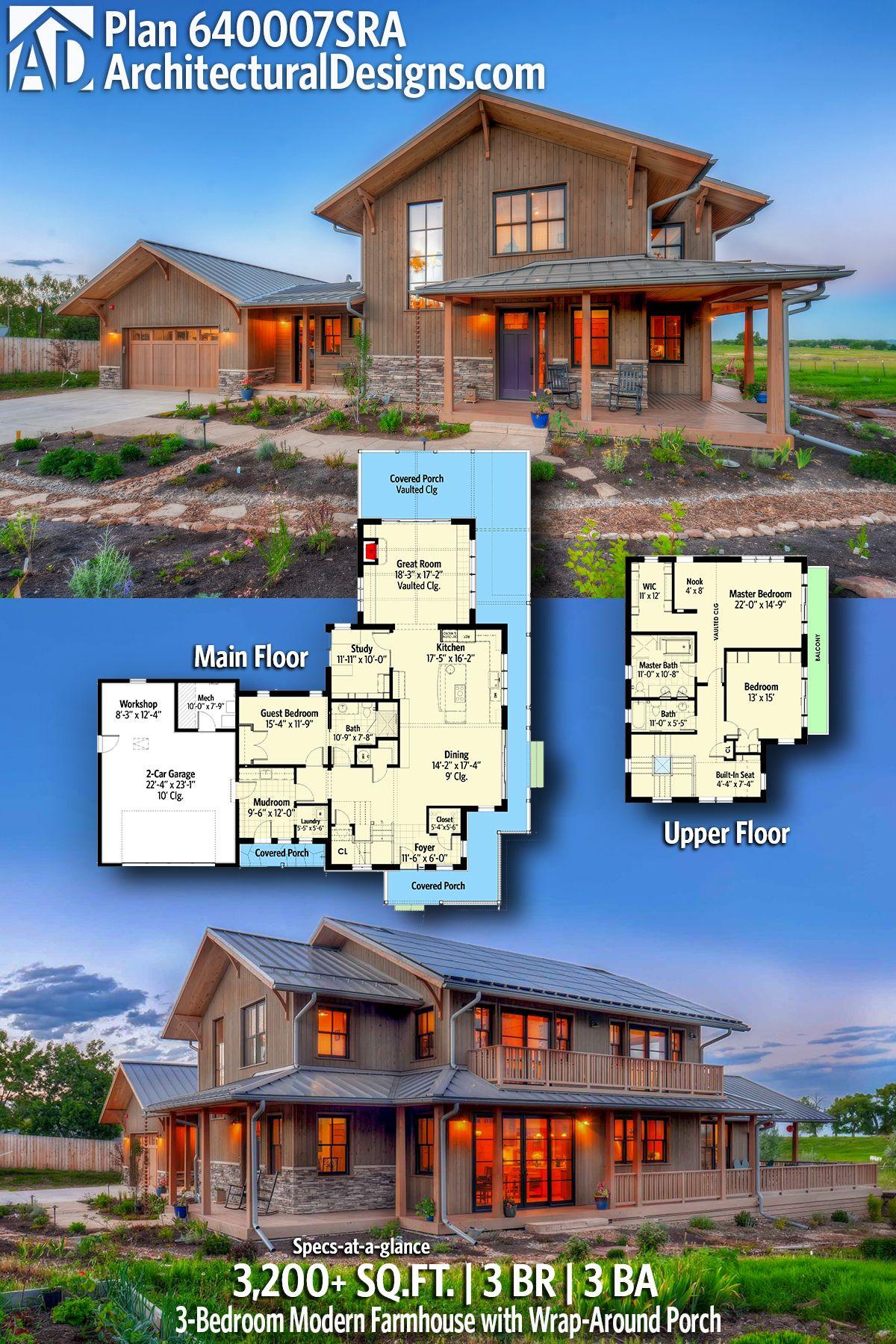 plan 640007sra modern craftsman farmhouse with wrap around porch