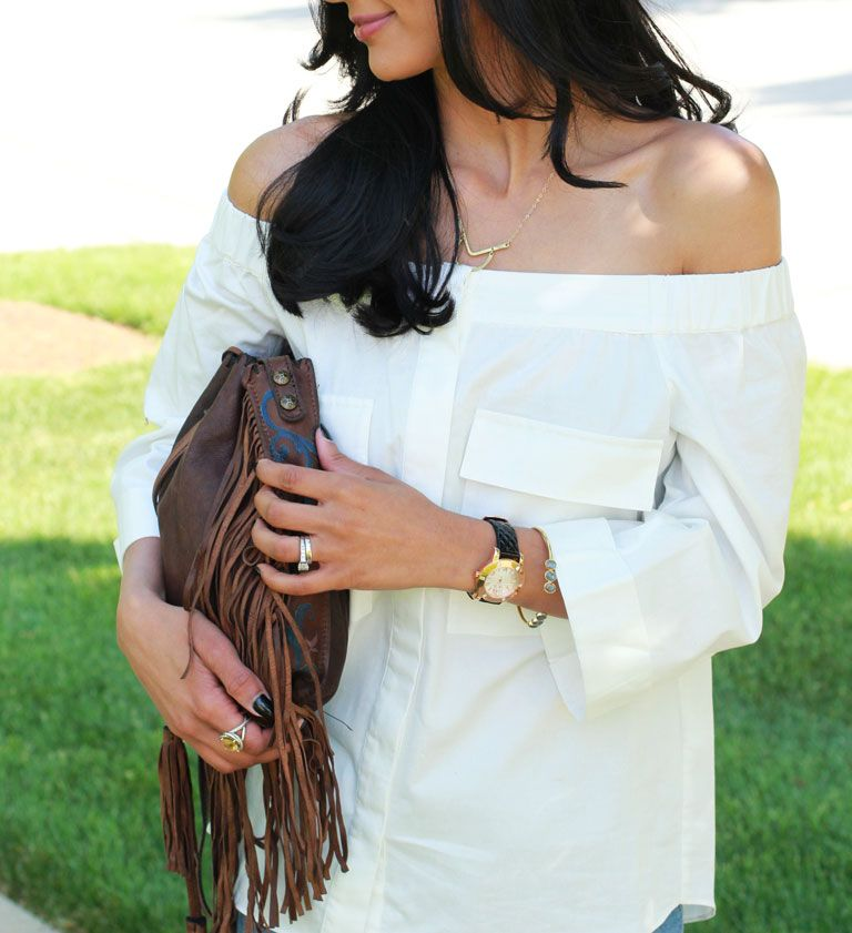 Off-the shoulder top, fringe bag, david yurman ring, folli follie watch, bangle via Rocksbox, Lesouque necklace