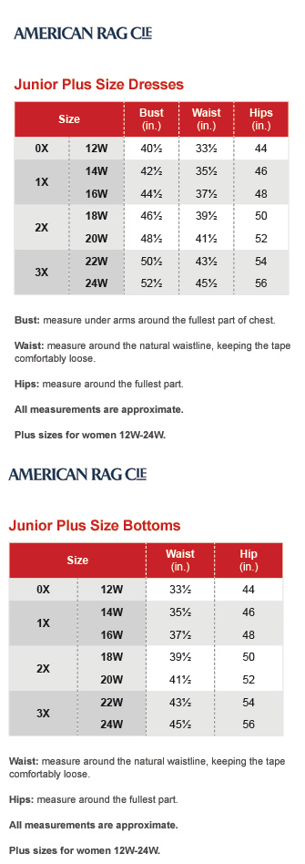American Rag Junior Plus Size Chart Via Macys