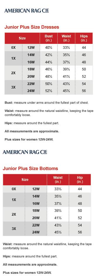 American rag junior plus size chart via macys also brand name rh pinterest