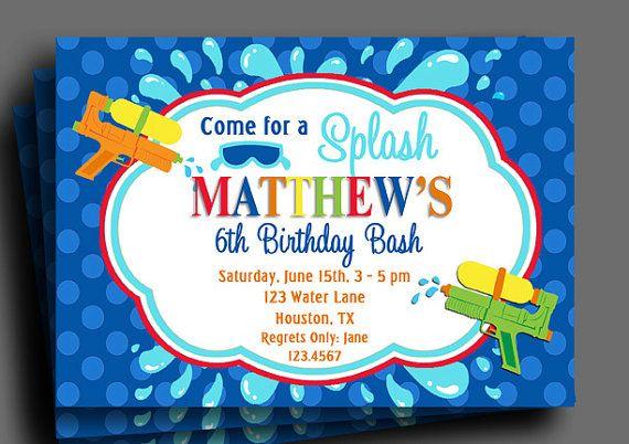 splash watergun invitation printable pool party water slide any