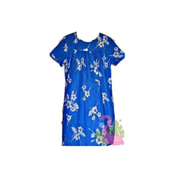 da94324221 Vintage KAILUA Hawaiian Dress One Size Floral Muu Muu Blue Caftan Hibiscus