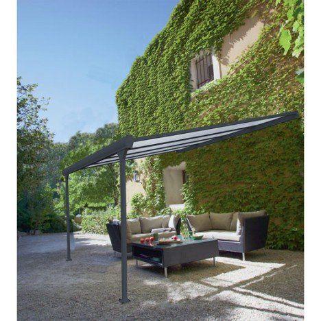 Pergola Adossee Leader Aluminium Gris Anthracite 12 M Salon De Jardin Castorama Decoration Exterieur Pergola