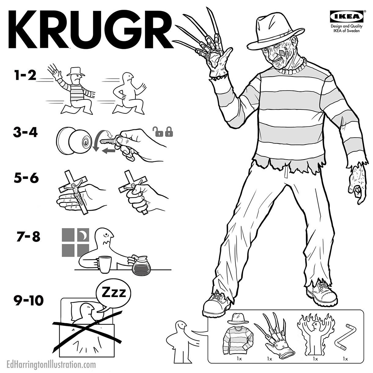 Krugr, an Ikea manual on Freddy Krueger (Nightmare on Elm Street)