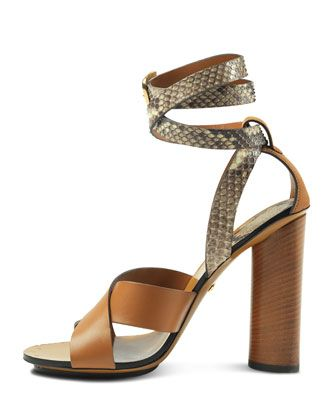 1e16d643558 GUCCI Candy Leather And Python Sandal