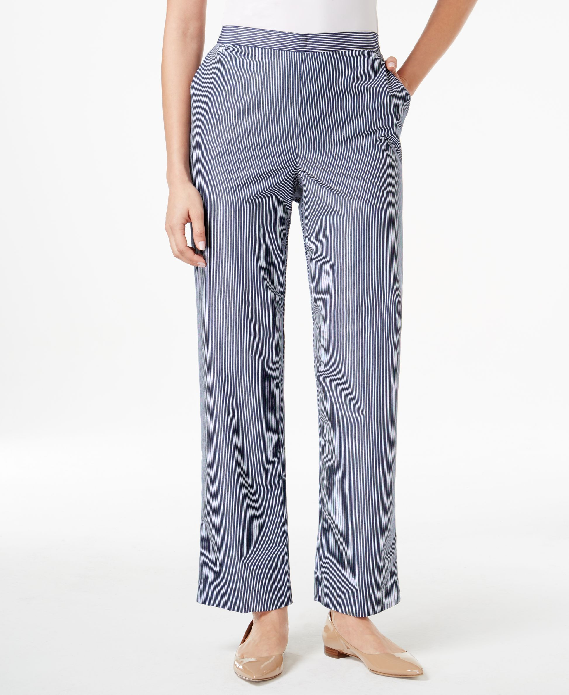 Alfred Dunner Petite Pull-On Straight-Leg Pinstripe Pants