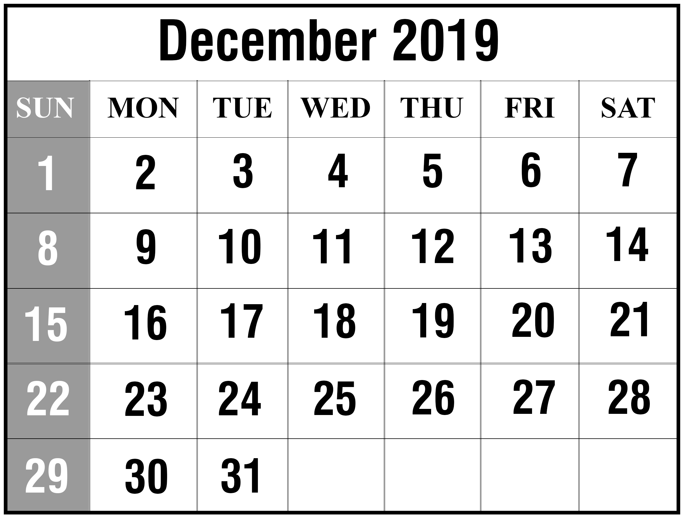 December Calendar Printable Dec December