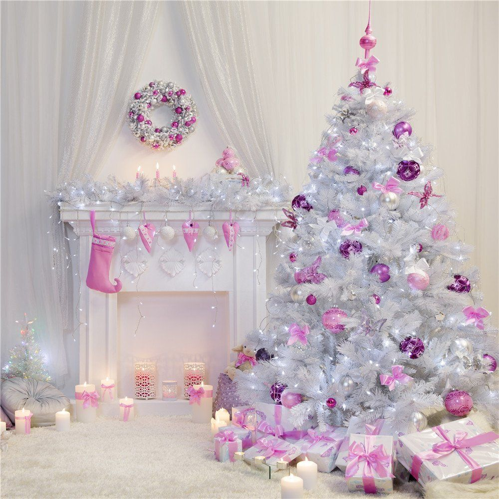 amazoncom christmas photography backdrops10x10ft 3x3m white christmas tree and fireplace background for photo studio camera - Amazon White Christmas Tree