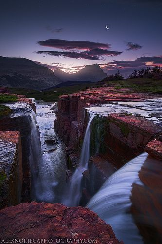 Glacier National Park's Triple Falls at Twilight Time