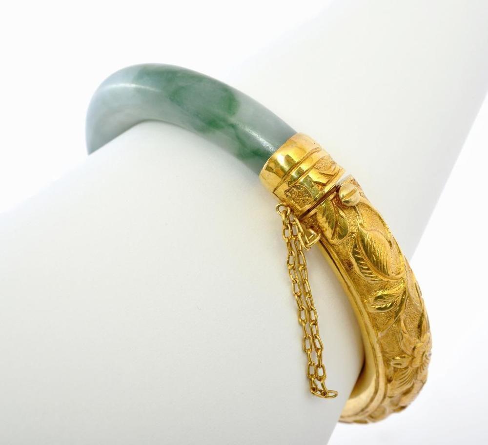 Chinese gold wash sterling silver natural jade jadeite bracelet