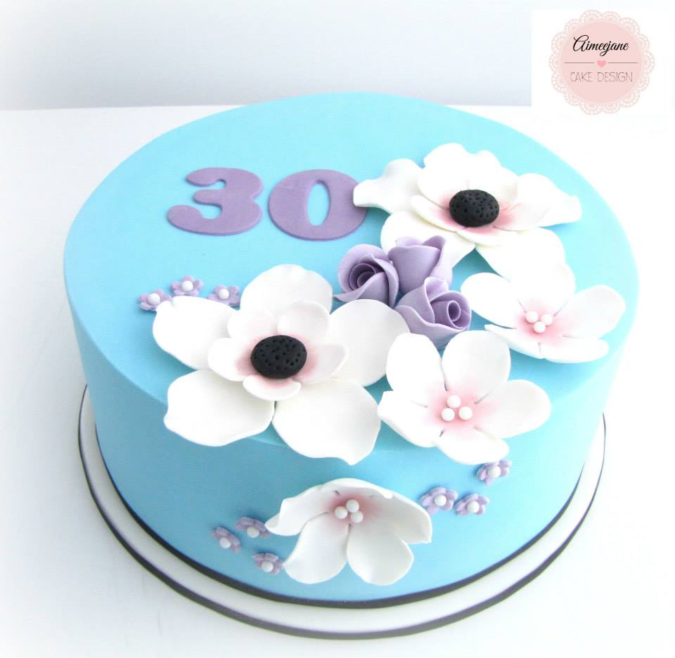 Creative 30th Birthday Cake Ideas Teal purple cake Flower cake
