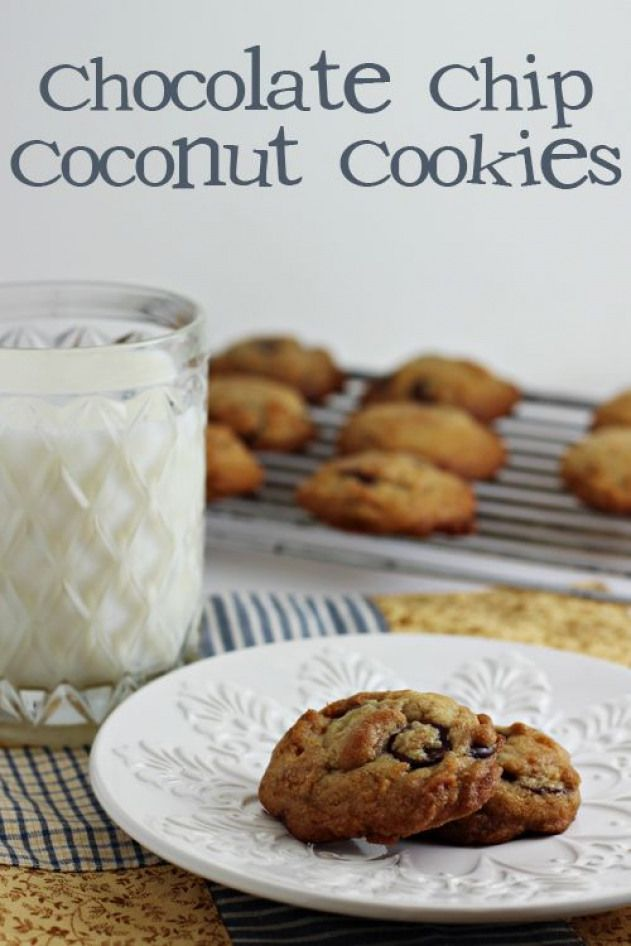 Chocolate Chip Coconut Cookies - made with toasted coconut flakes and coconut oil (instead of butter).