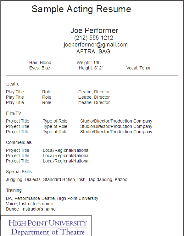 Acting Resume Template Psd Ai Indesign And Word Format Download Graphic Cloud Acting Resume Acting Resume Template Resume Skills Section