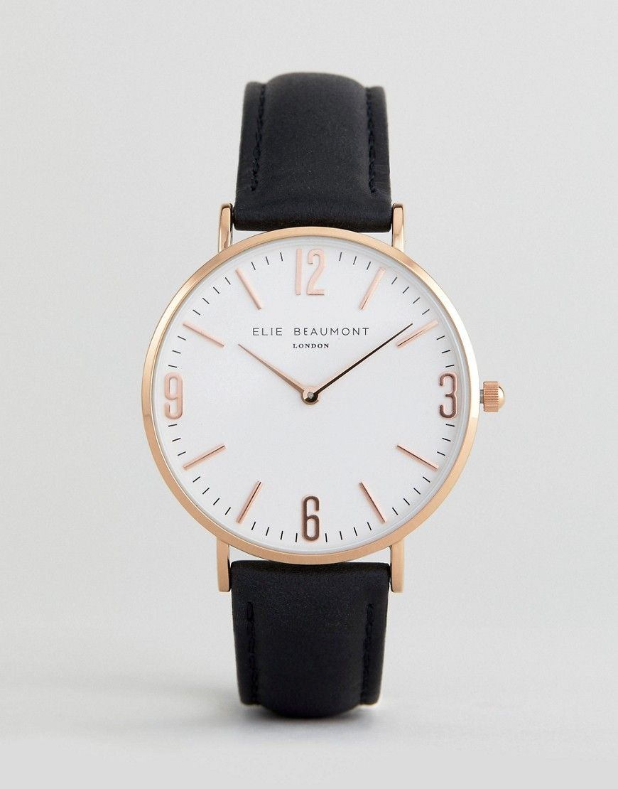 05ead83710e ELIE BEAUMONT WATCH WITH BLACK STRAP AND CLEAR DIAL - BLACK. #eliebeaumont #