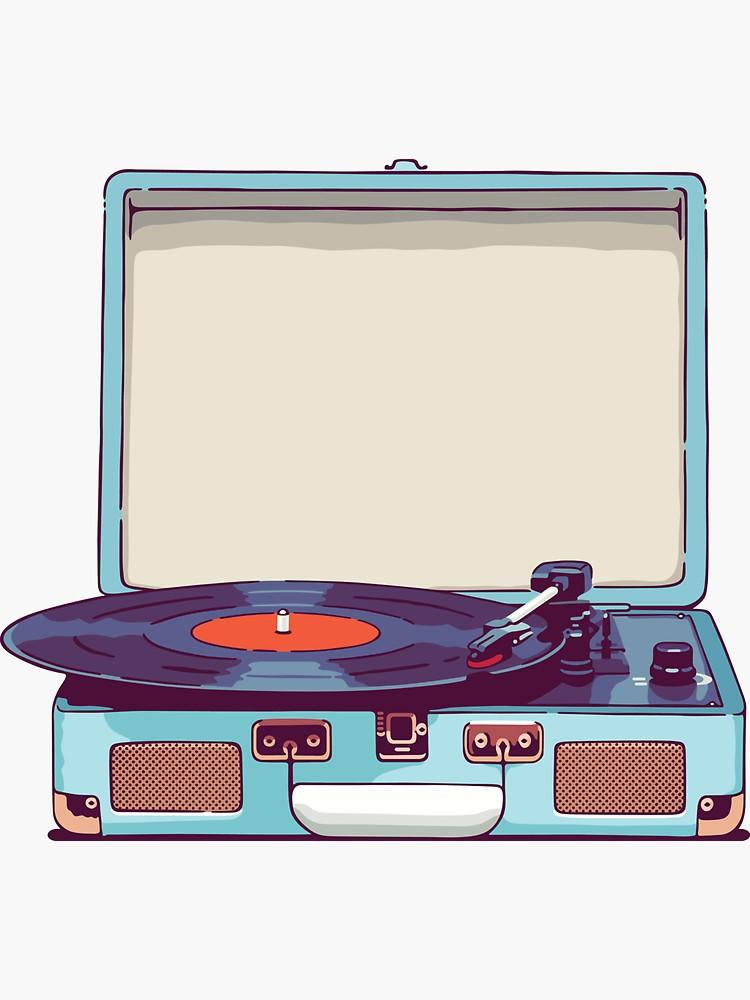 Blue Vinyl Record Player Sticker By Sundrystudio In 2021 Vinyl Record Player Record Player Vinyl Records