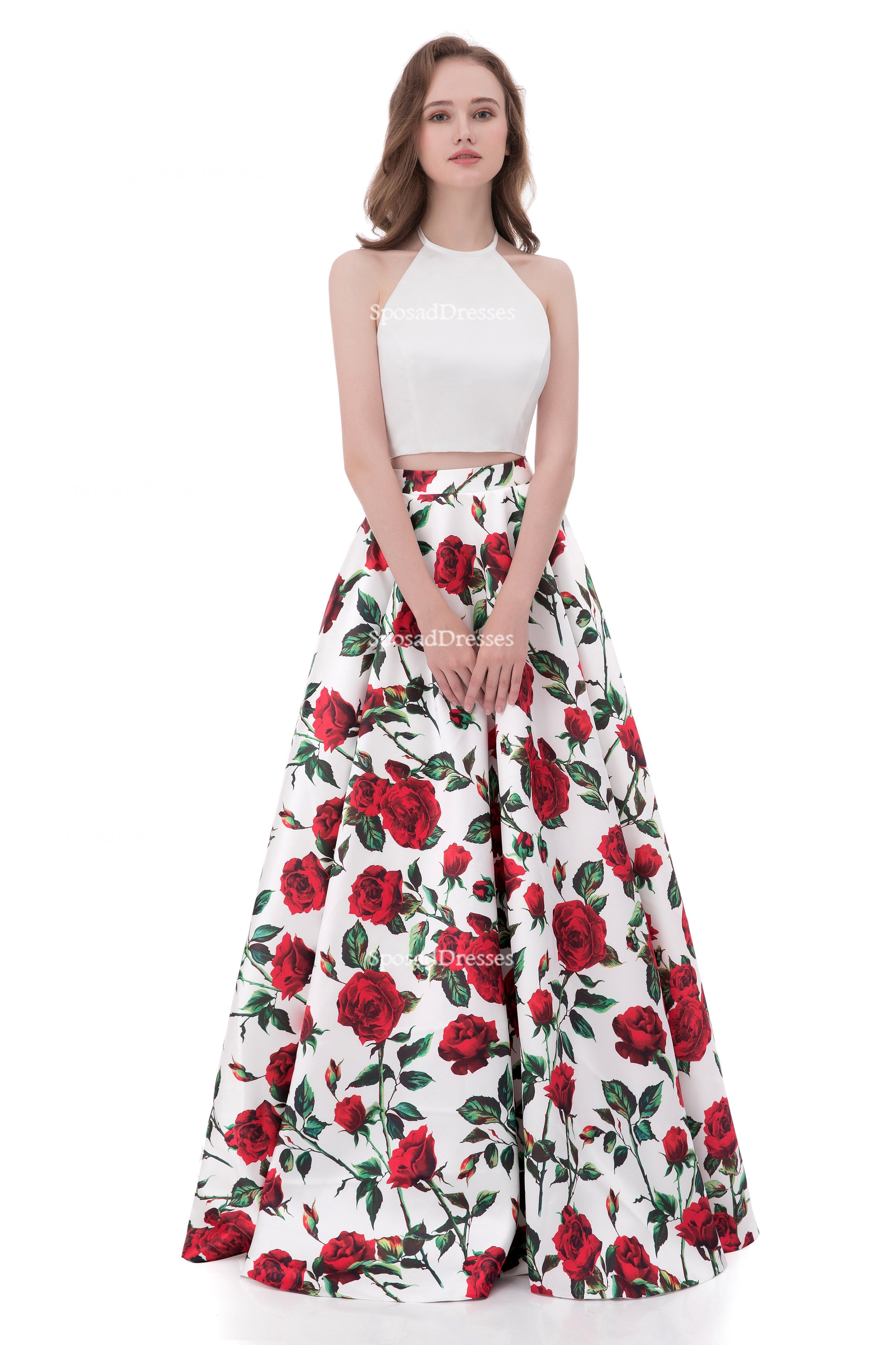 Simple halter printed flower sexy two pieces long evening prom