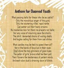 Anthem For Doomed Youth Wilfred Owen Over Analysed For My