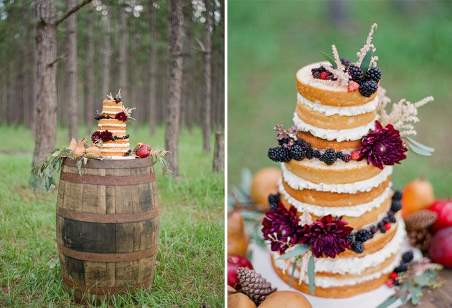 Love this wine-barrel table with the nekkid cake! Rustic Fall Wedding Inspiration