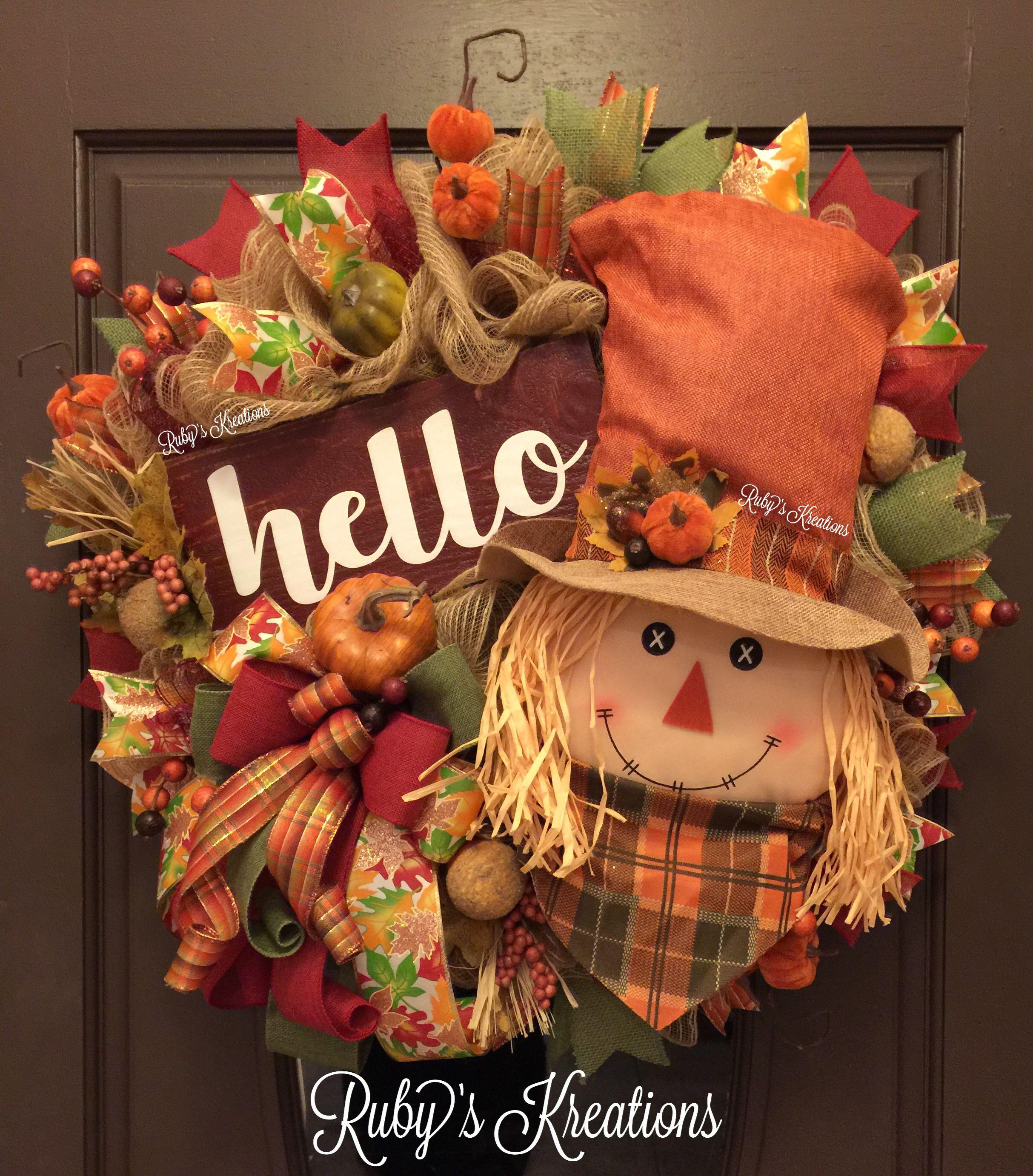 Fall Wreath - Scarecrow Wreath - Hello Wreath - Fall Decor - Rustic Wreath #scarecrowwreath