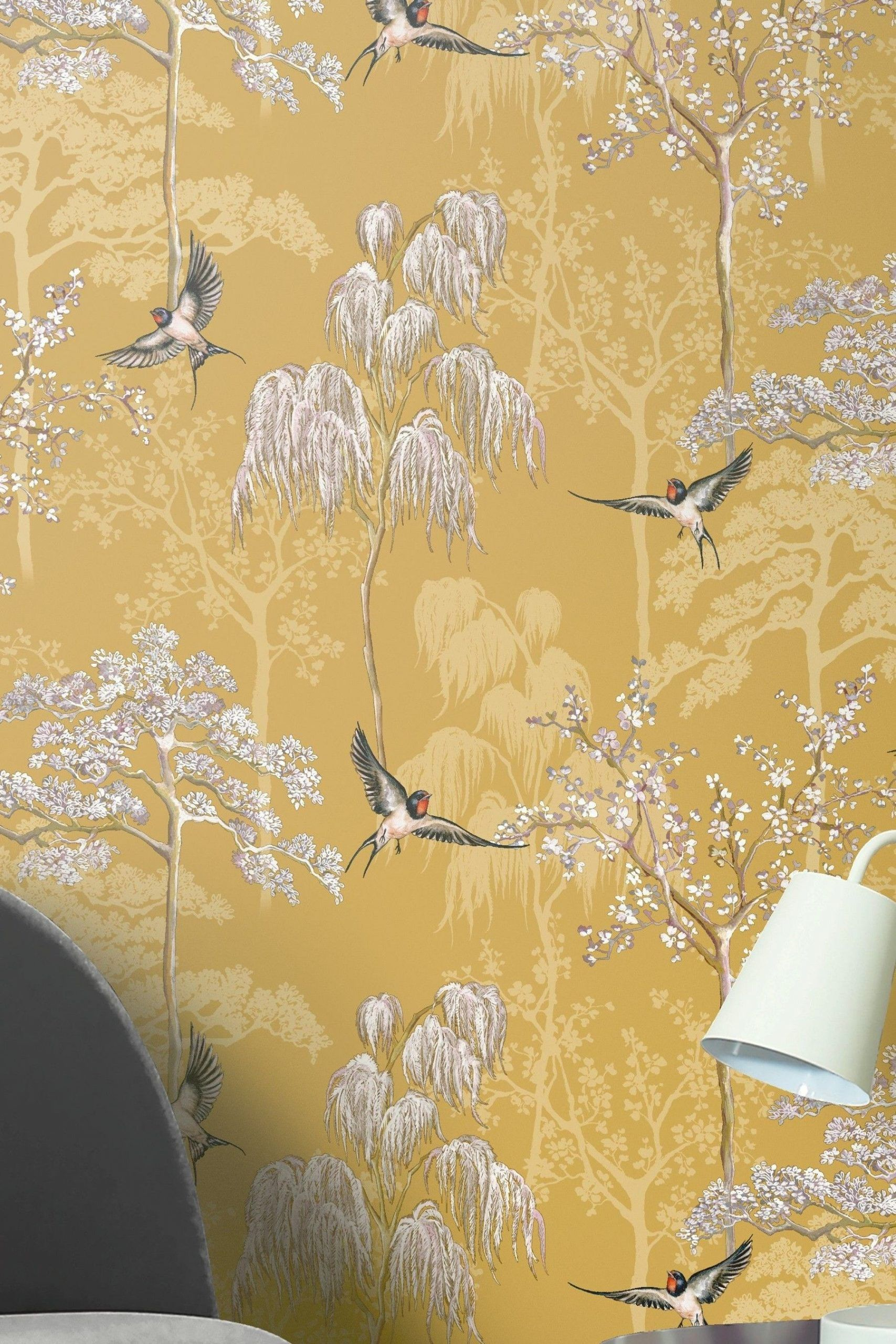 Japanese Garden Floral Wallpaper By Arthouse Yellow Arthouse