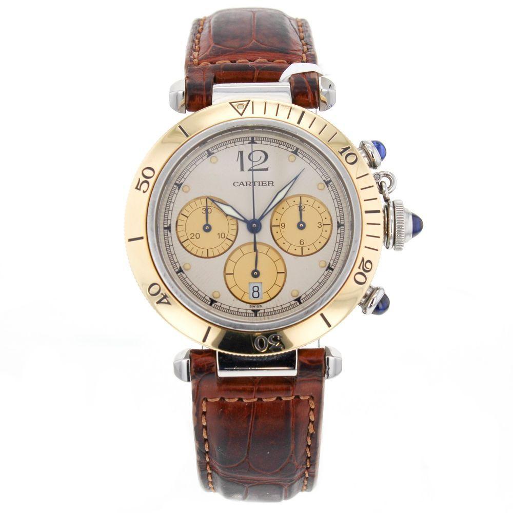 Cartier Pasha Chronograph 1032 18k Gold   Stainless Steel Automatic Men s  Watch  Cartier  LuxurySportStyles bb057cc5e668