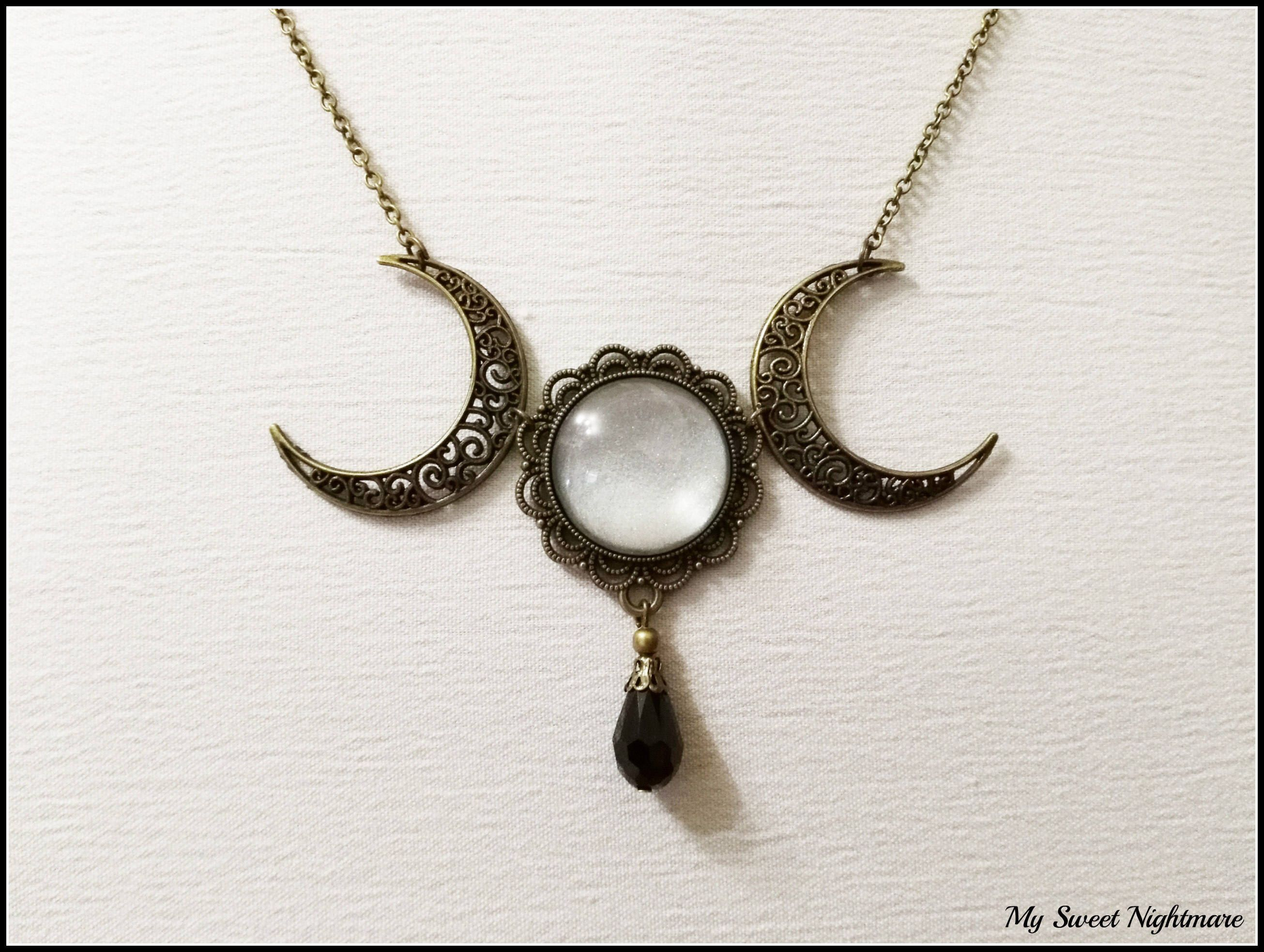 of eccentricity crescent druzy necklace moon triple eclectic product image