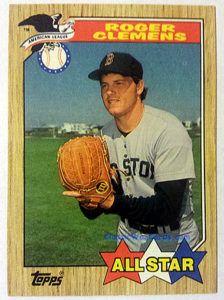 1987 Topps Roger Clemens All Star Baseball Card Baseball Cards Baseball Card Values Red Sox Baseball