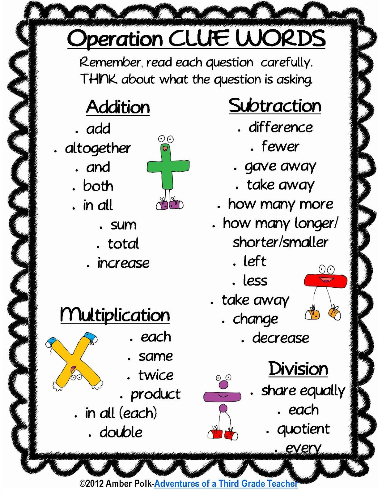 Math Operation Clue Words Including A Clue Word Cut Amp Paste Study Guide