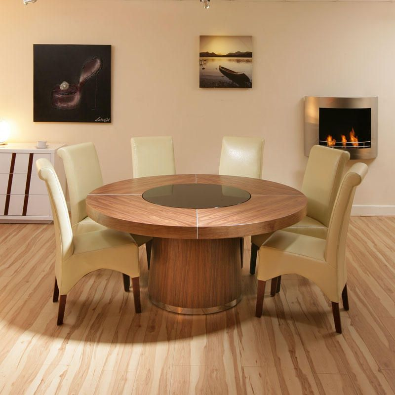 Round Dining Table For 6 With Lazy Susan 160cm d seats 8-10 large round walnut dining table, black glass