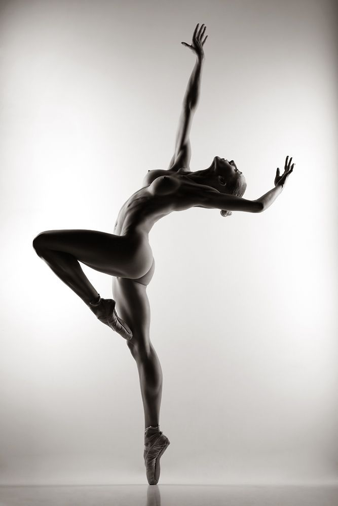 Naked black female ballerina