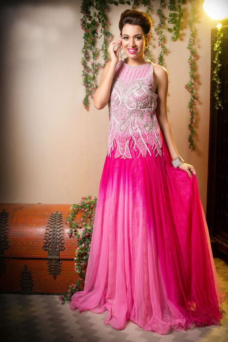 e2d2051bcb Beguiling Pink And Rani Color Net Gown - $180 | Evening Party Wear ...