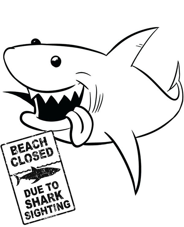 Funny Shark To Color For Children Fish Coloring Page Free Coloring Page Template Printing Printab Shark Coloring Pages Cute Coloring Pages Fish Coloring Page