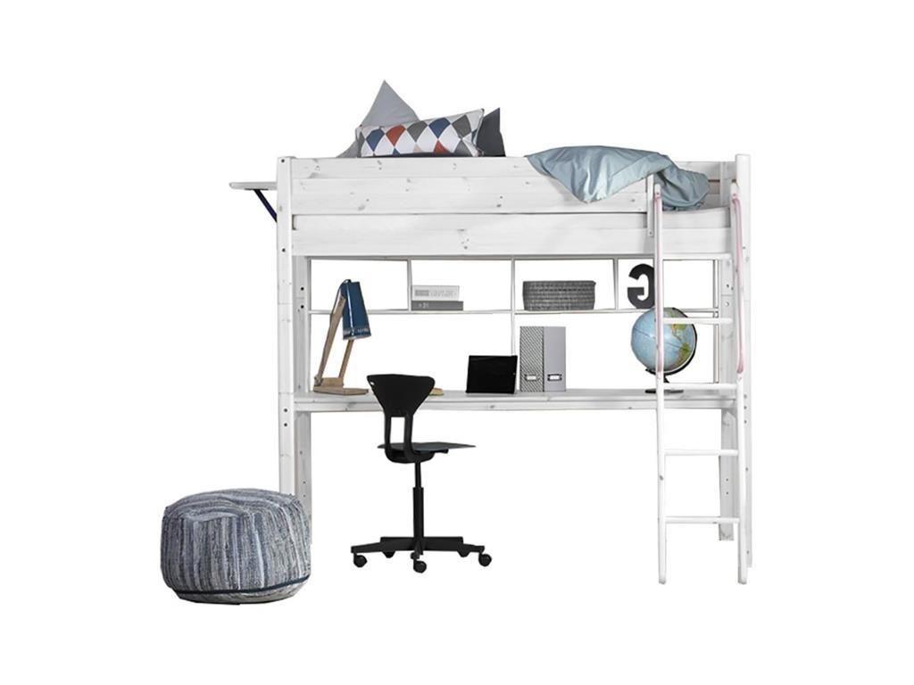 Hochbett Flexa Basic Trendy, Weiß mit Gerader Leiter, Schreibtisch ...
