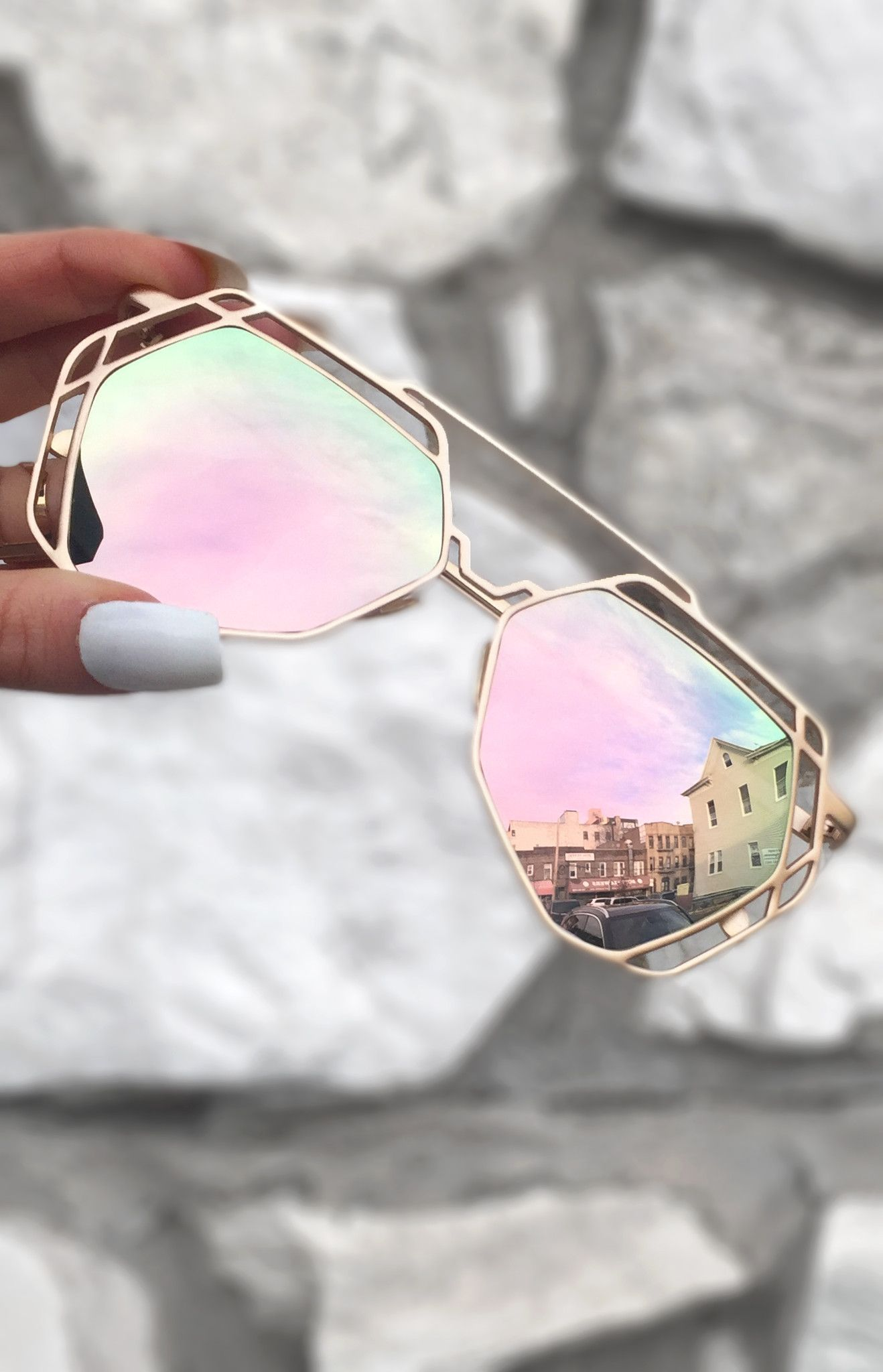 0fa875a3be Arrest Me Sunnies - Rose Gold These women Topfoxx Sunglasses are  reflective