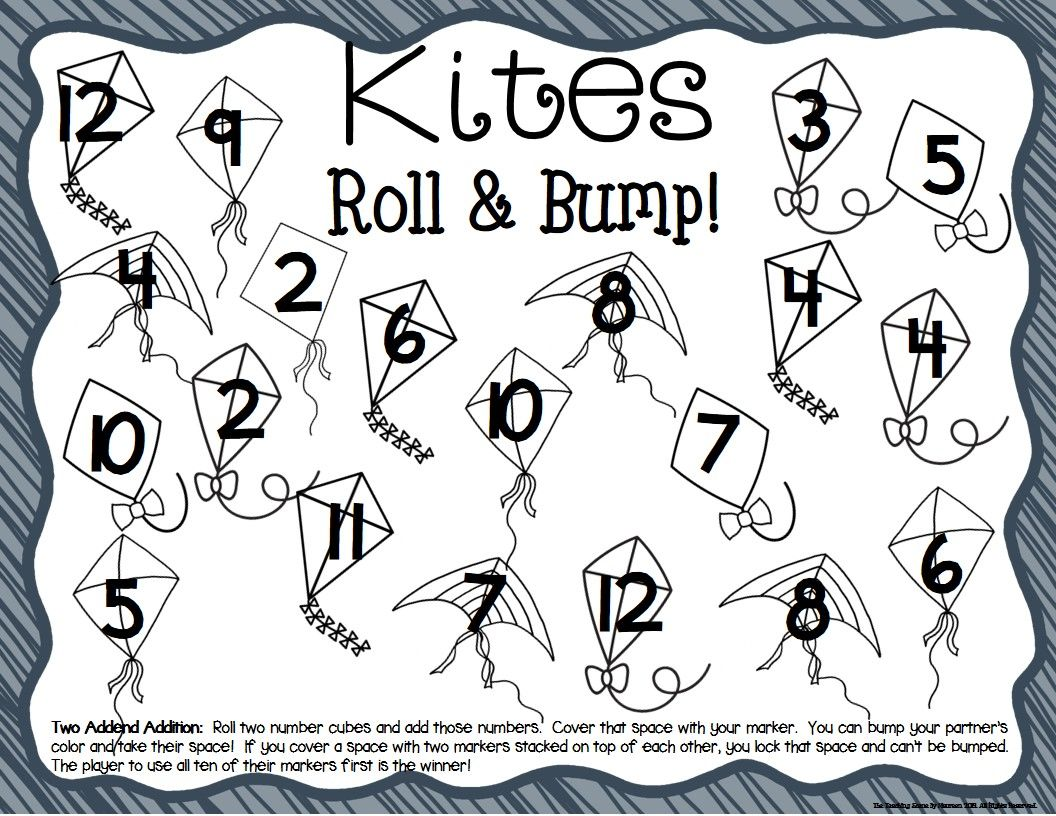 Kite Math Center Dice Games For K 2nd Special Education