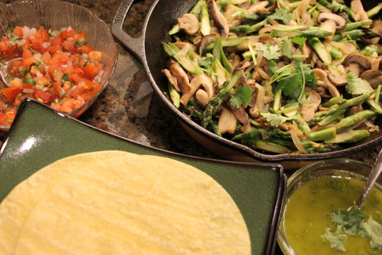 Asparagus & Mixed Mushrooms Tacos