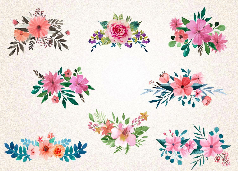Watercolor Floral Bouquets Svg Png Watercolor Flowers Svg