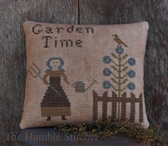 Garden Time...Primitive Cross Stitch Pattern By The Humble Stitcher